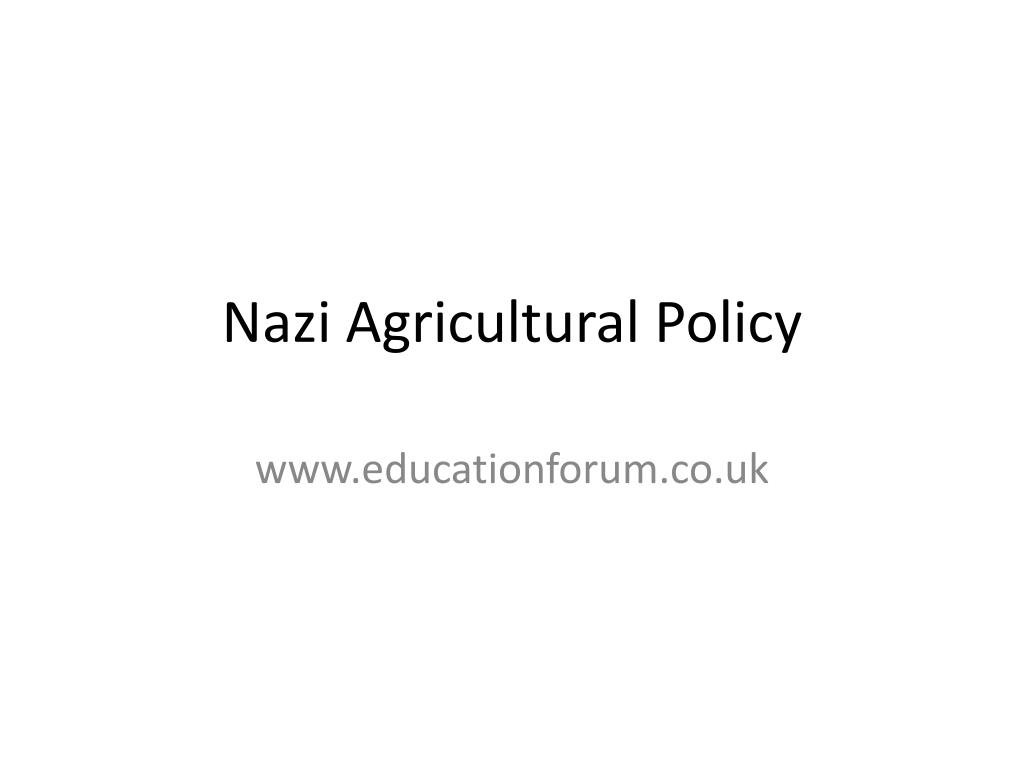 nazi agricultural policy