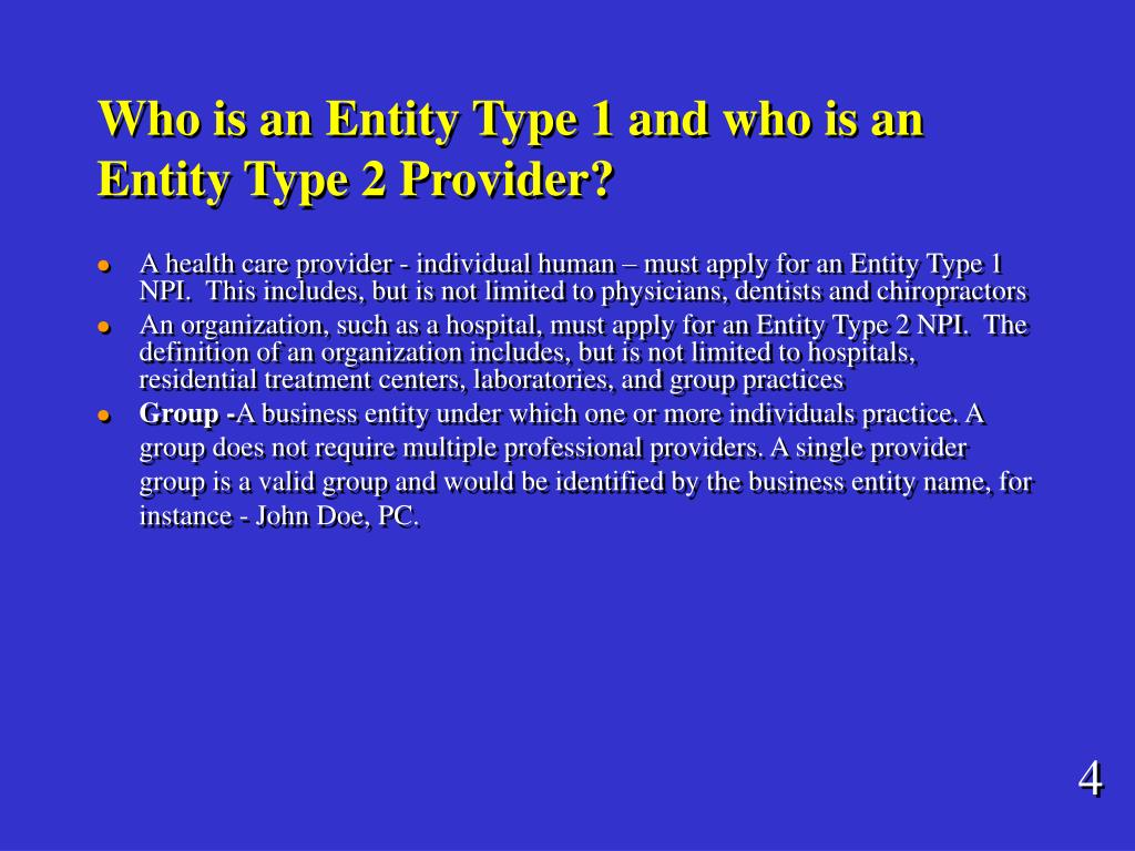 Who is an Entity Type 1 and who is an Entity Type 2 Provider?