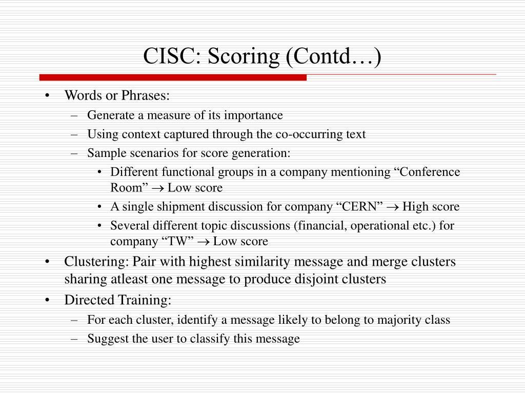 CISC: Scoring (Contd…)