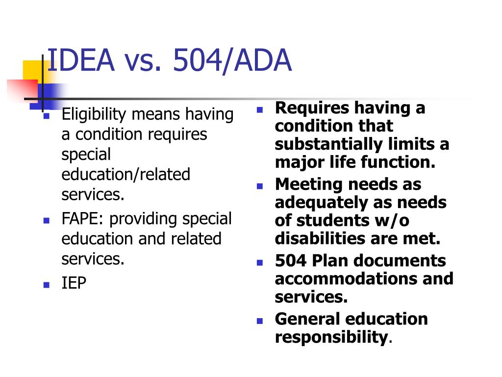 Eligibility means having a condition requires special education/related services.