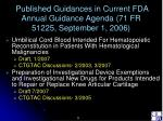 published guidances in current fda annual guidance agenda 71 fr 51225 september 1 2006