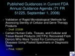 published guidances in current fda annual guidance agenda 71 fr 51225 september 1 200610