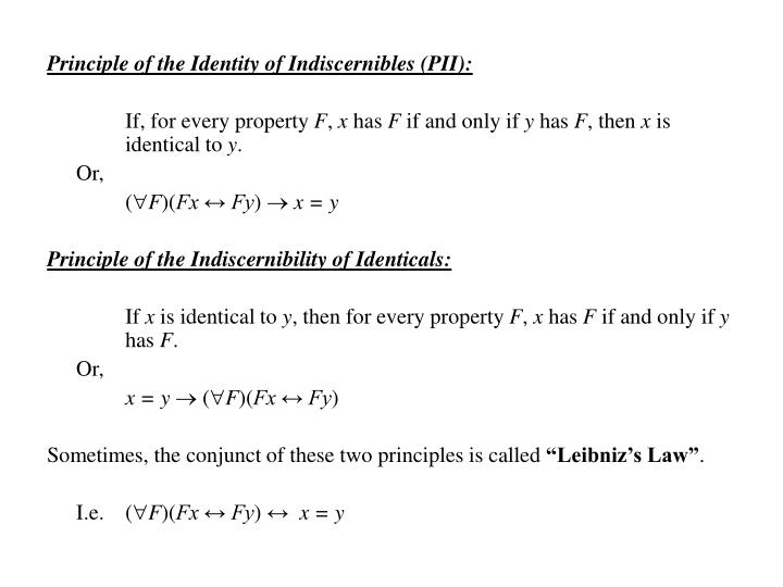 Principle of the Identity of Indiscernibles (PII):