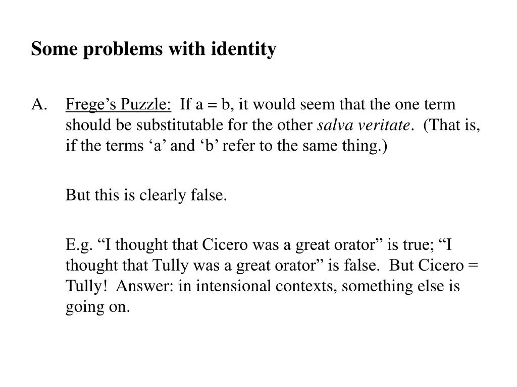 Some problems with identity