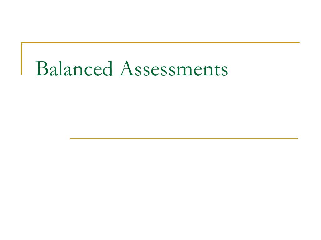 Balanced Assessments