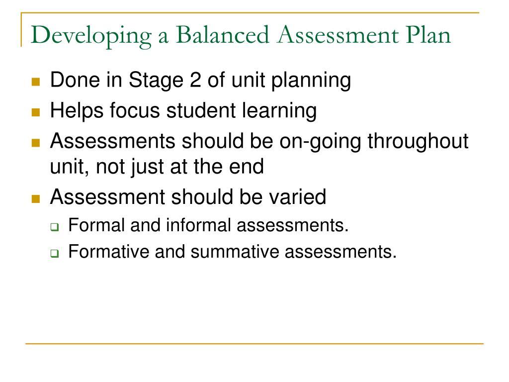 Developing a Balanced Assessment Plan