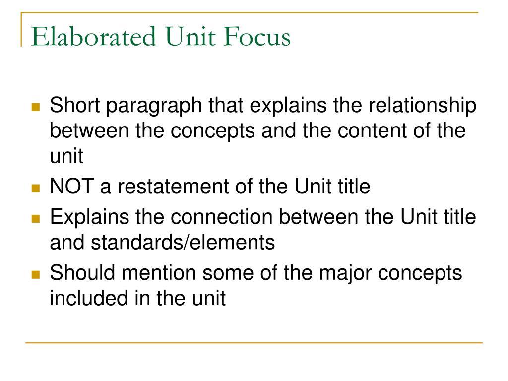 Elaborated Unit Focus