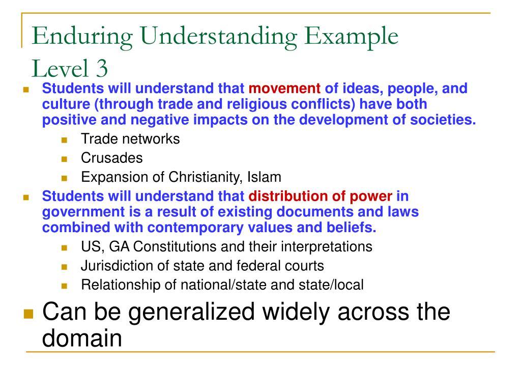 Enduring Understanding Example