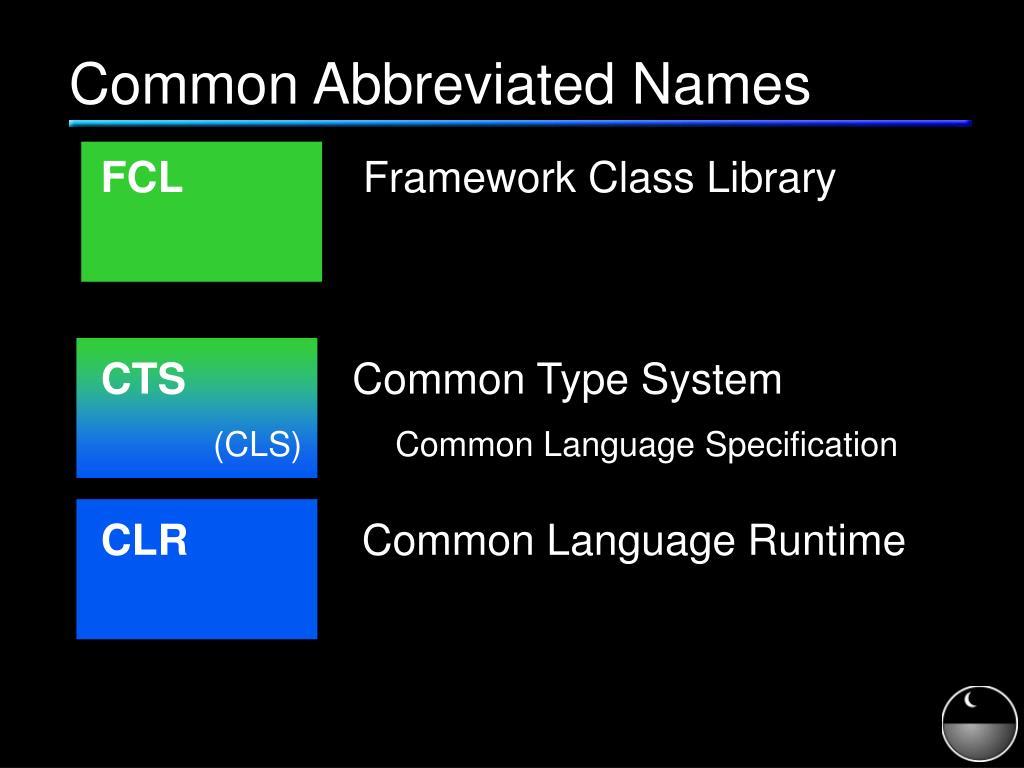 Common Abbreviated Names