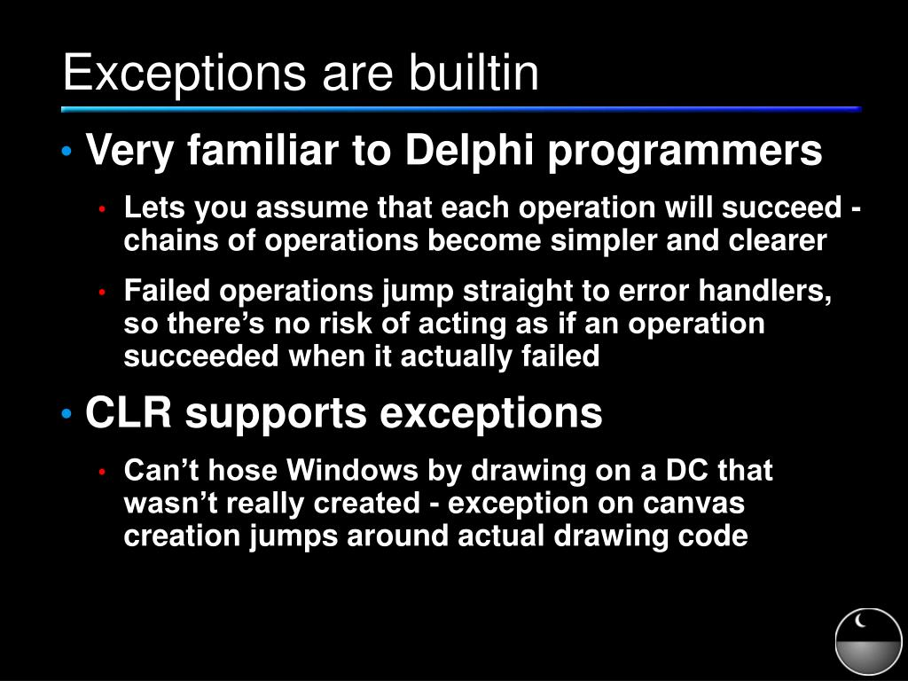 Exceptions are builtin
