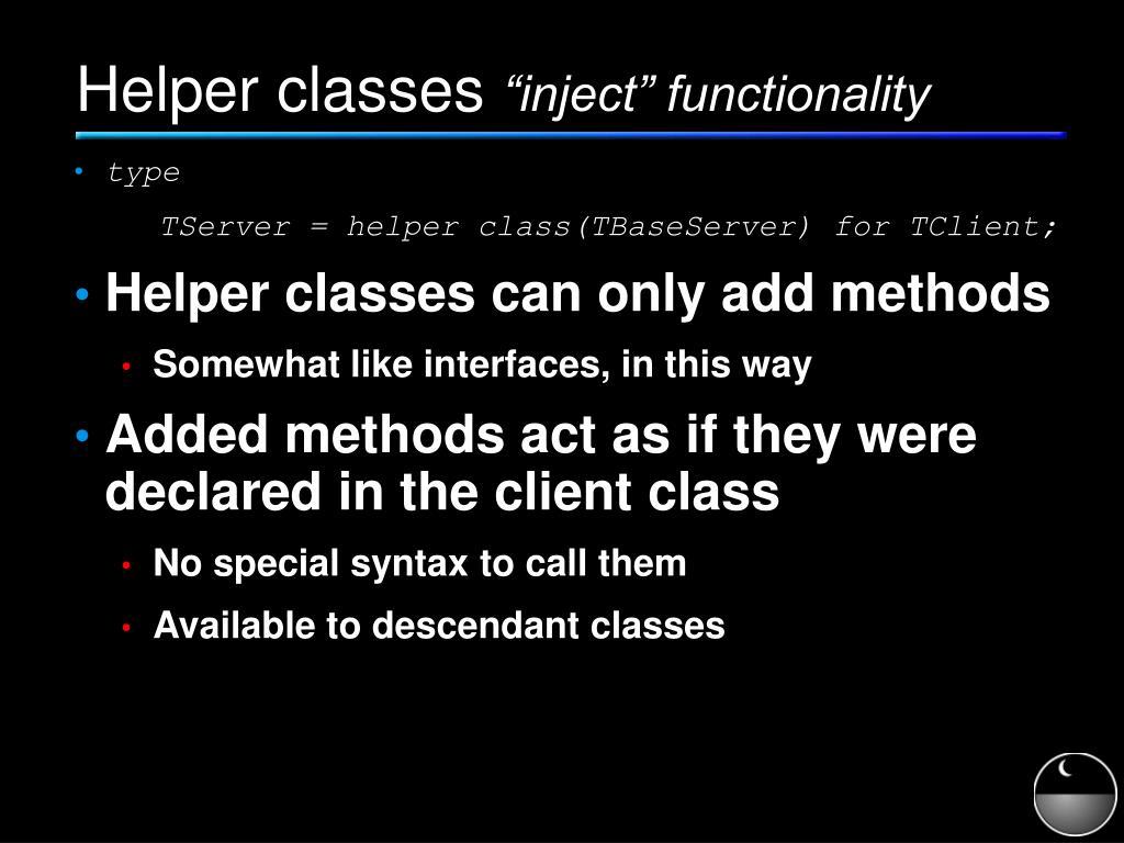 Helper classes