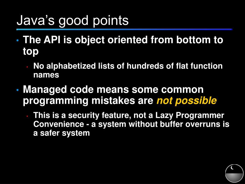 Java's good points