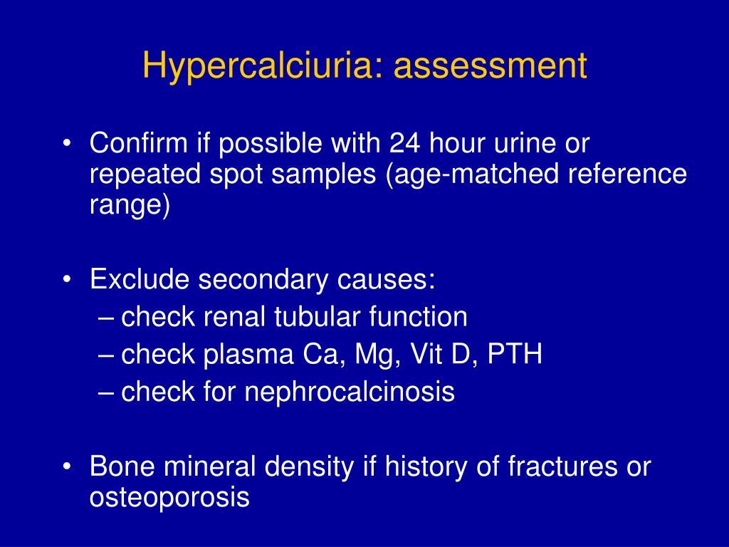 Hypercalciuria: assessment