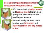 conclusion organizational constraints to research development in heis41