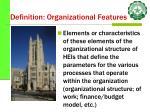 definition organizational features