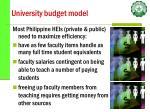 university budget model