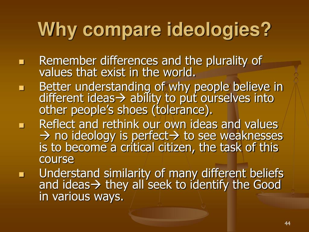 Why compare ideologies?