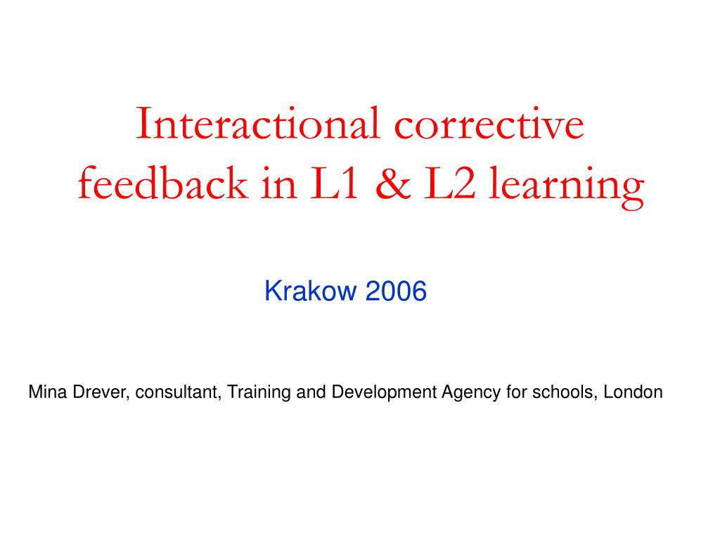 interactional corrective feedback in l1 l2 learning l.