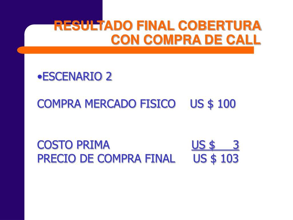 RESULTADO FINAL COBERTURA CON COMPRA DE CALL