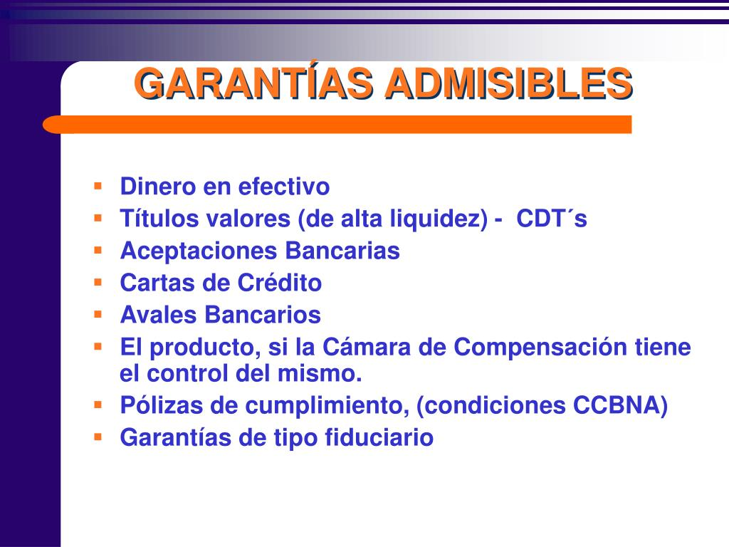 GARANTÍAS ADMISIBLES