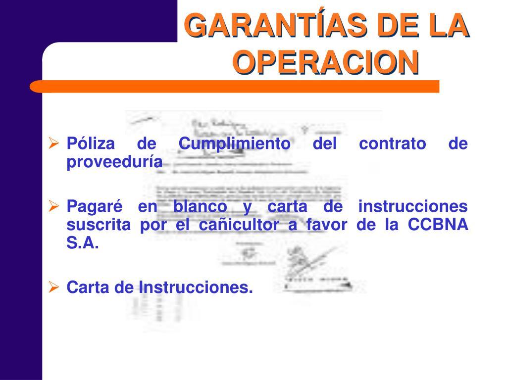 GARANTÍAS DE LA OPERACION