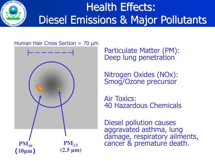 Health effects diesel emissions major pollutants