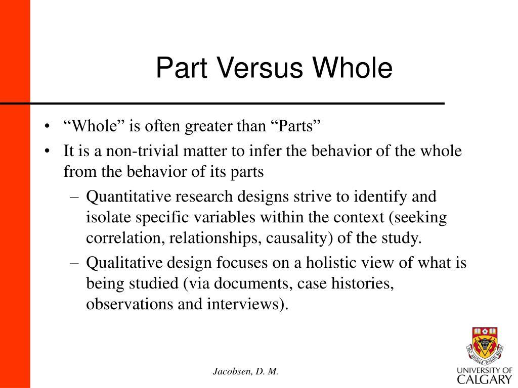 Part Versus Whole