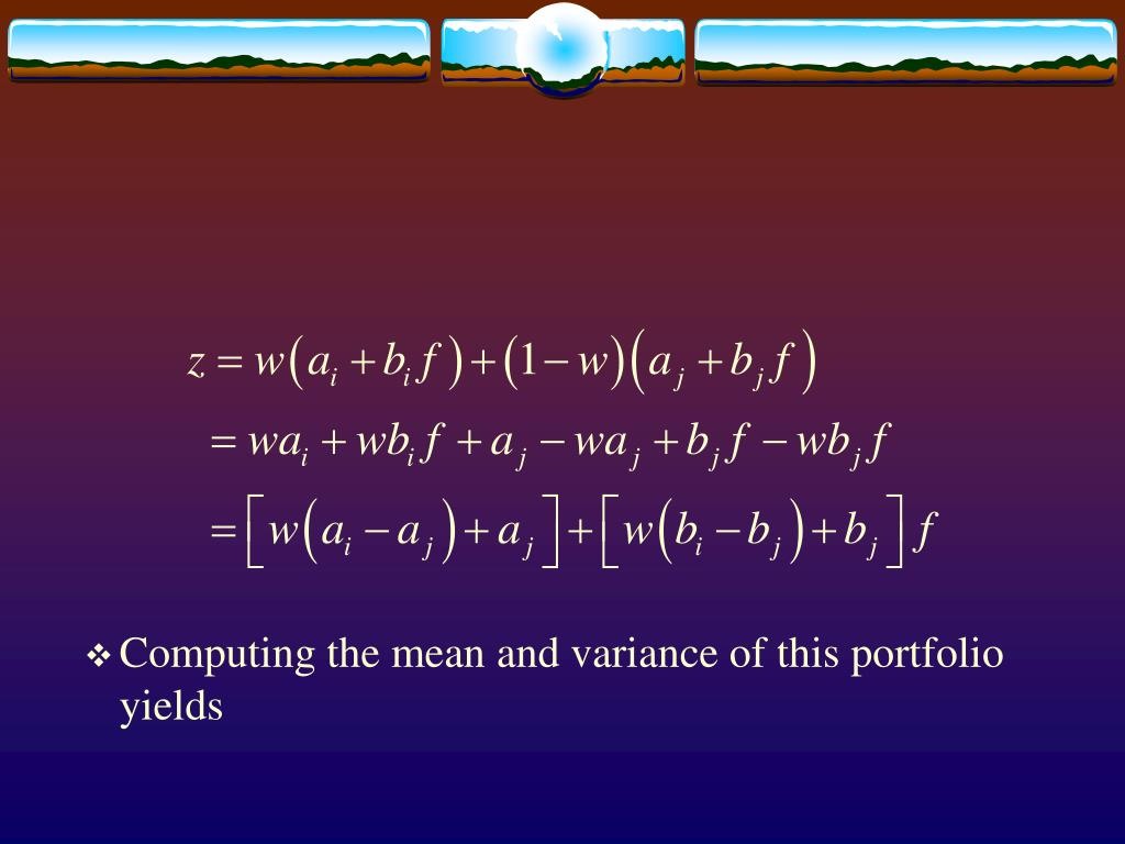 Computing the mean and variance of this portfolio yields
