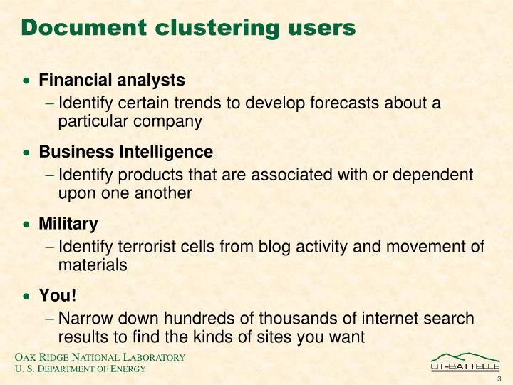 Document clustering users