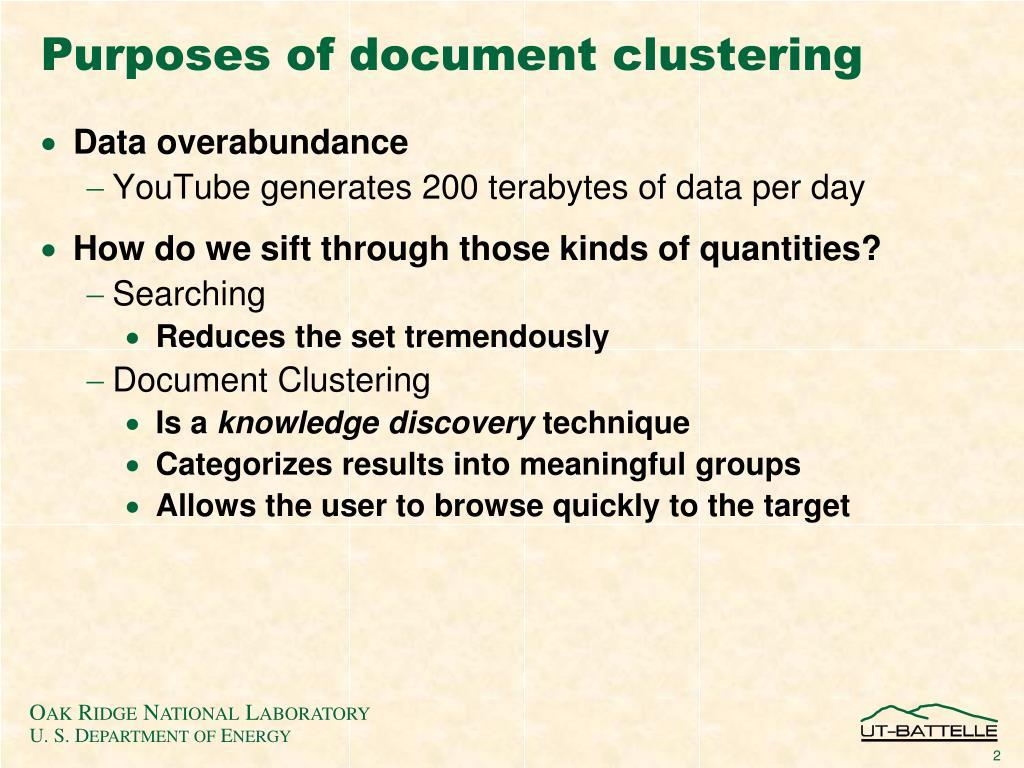 Purposes of document clustering