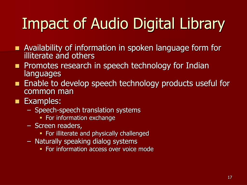 Impact of Audio Digital Library