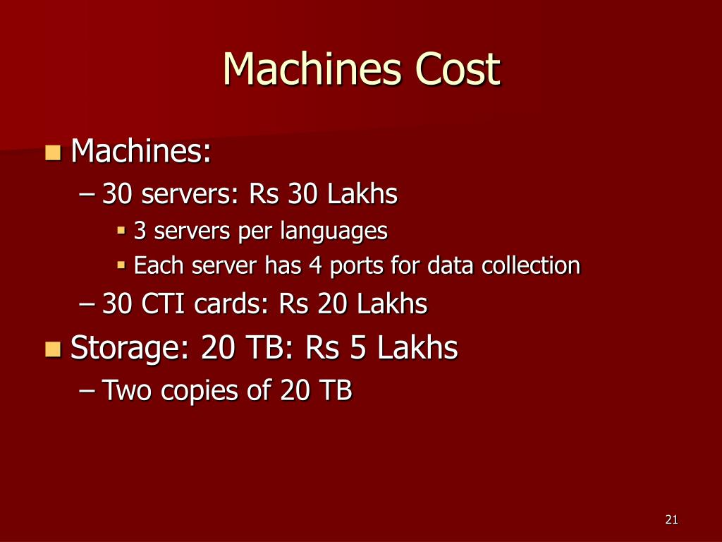 Machines Cost