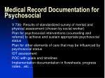 medical record documentation for psychosocial