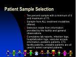 patient sample selection