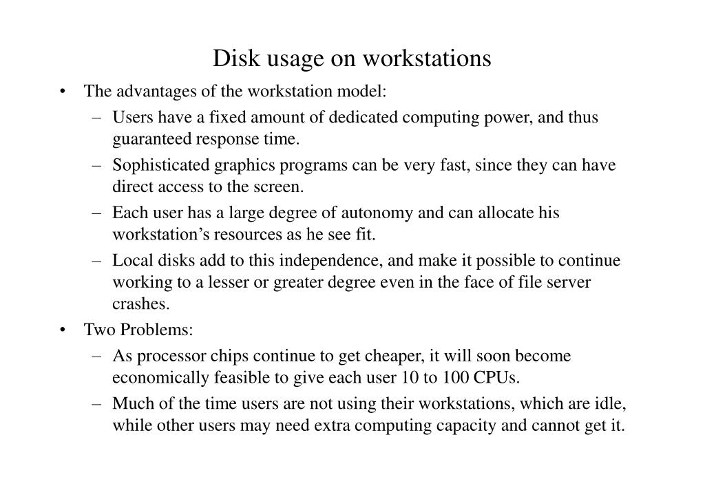 Disk usage on workstations