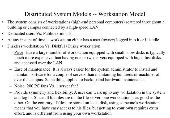Distributed system models workstation model