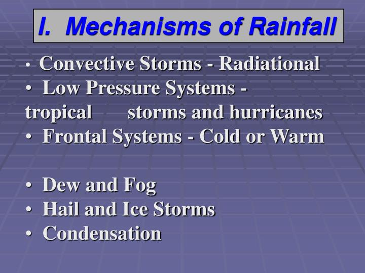 I.  Mechanisms of Rainfall
