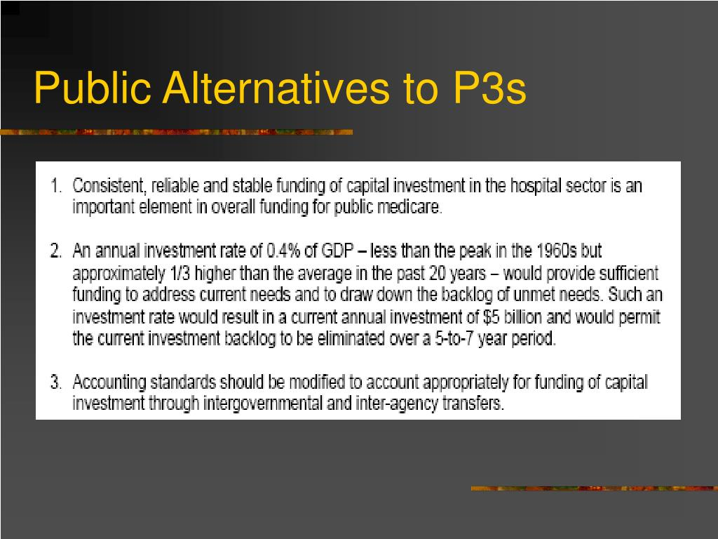 Public Alternatives to P3s