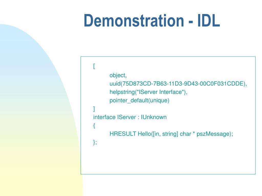 Demonstration - IDL