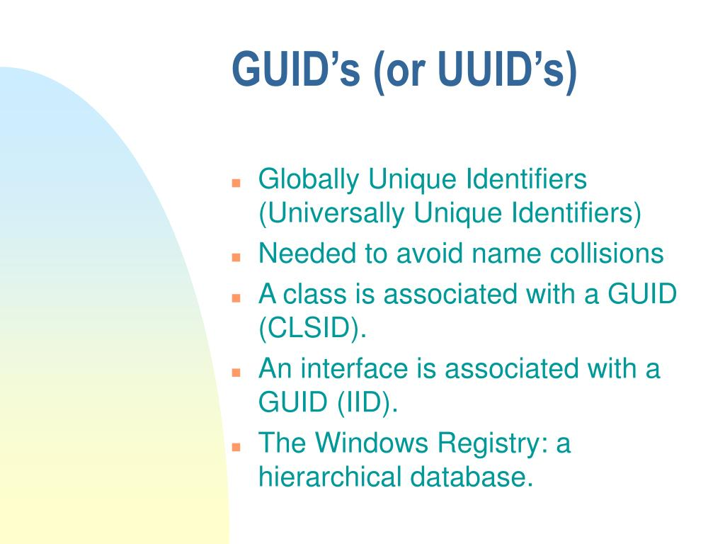GUID's (or UUID's)