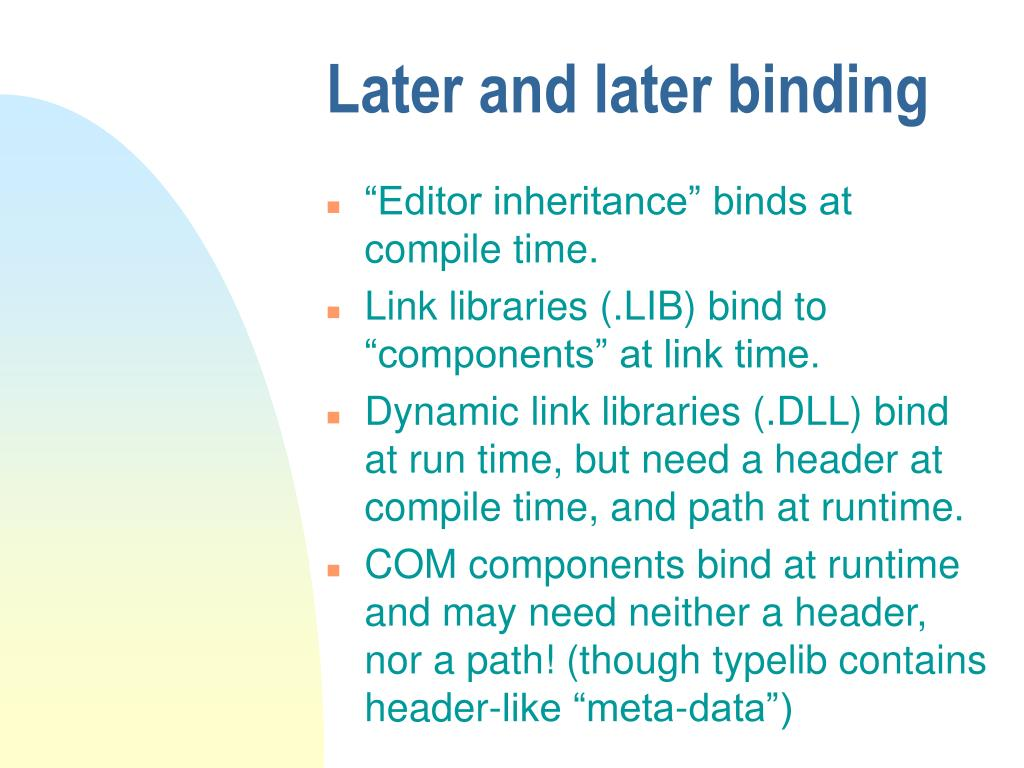Later and later binding