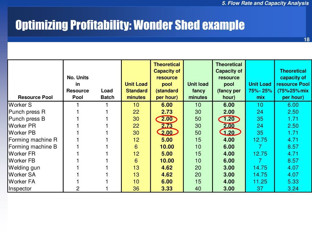 Optimizing Profitability: Wonder Shed example