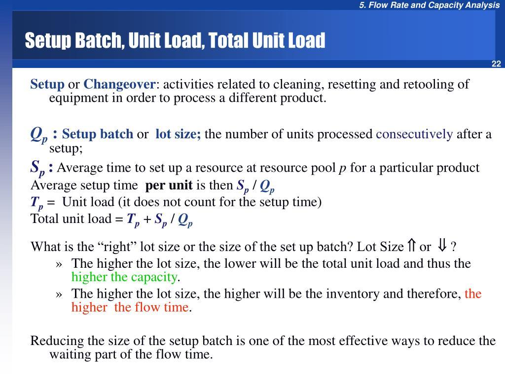 Setup Batch, Unit Load, Total Unit Load