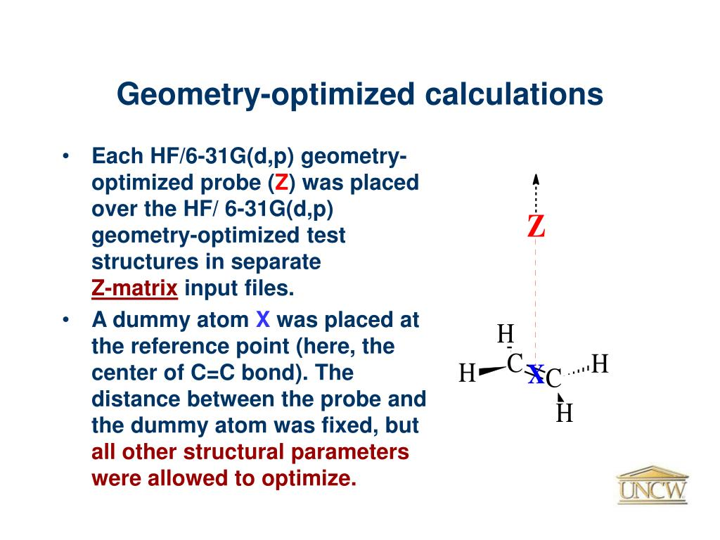 Geometry-optimized calculations