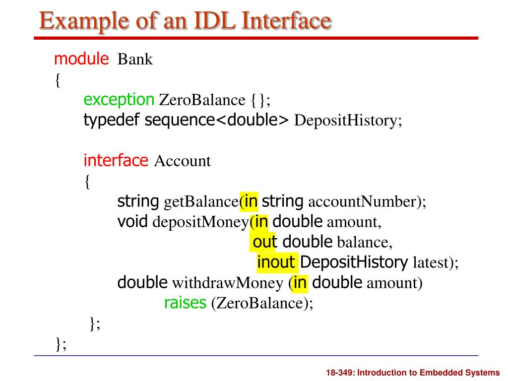 Example of an IDL Interface