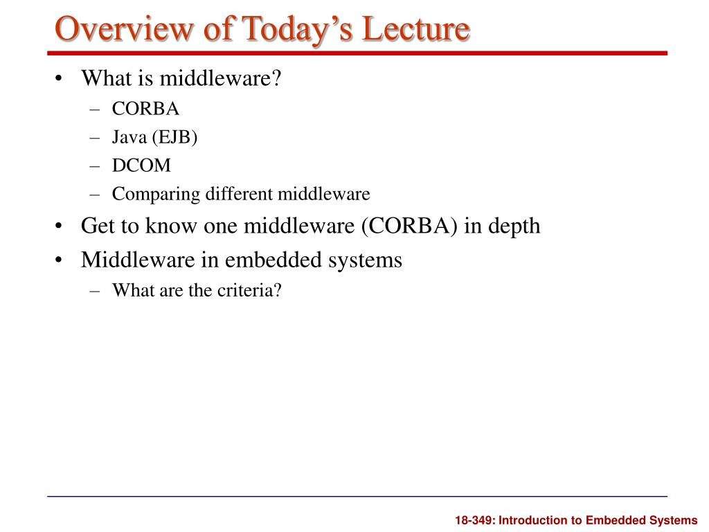 Overview of Today's Lecture