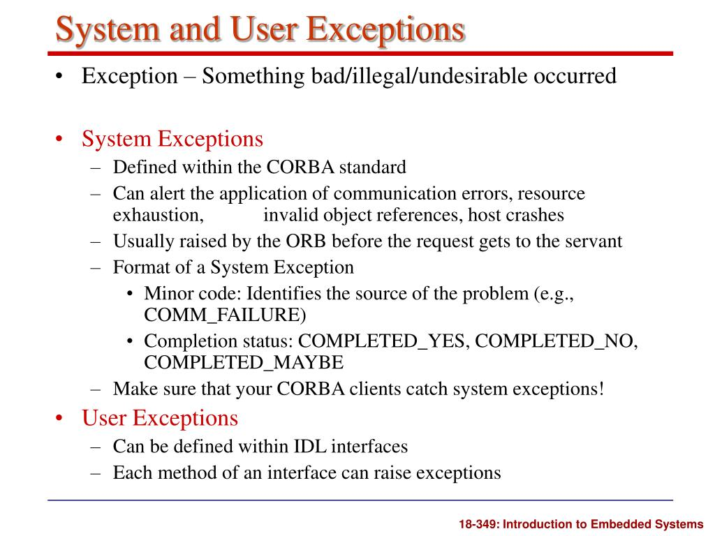 System and User Exceptions