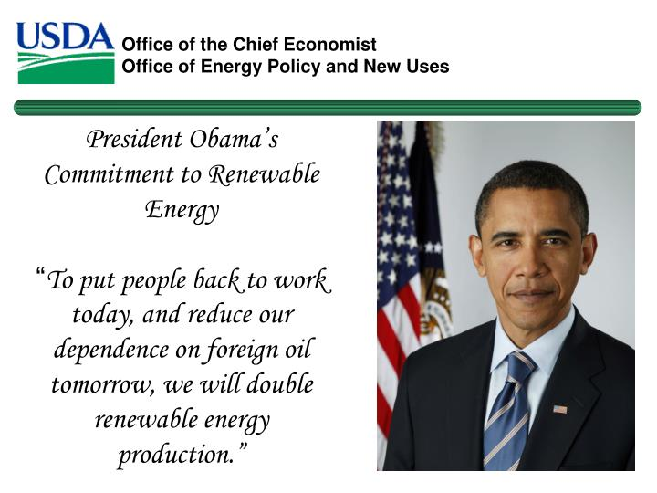 President Obama's Commitment to Renewable Energy