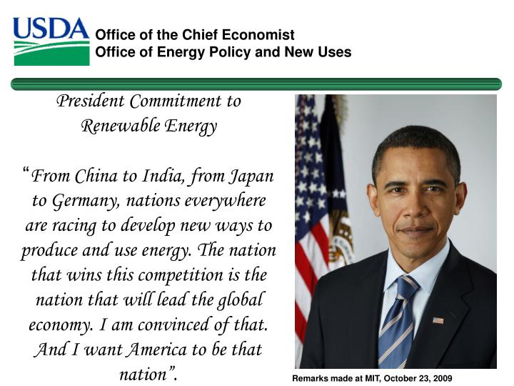 President Commitment to Renewable Energy