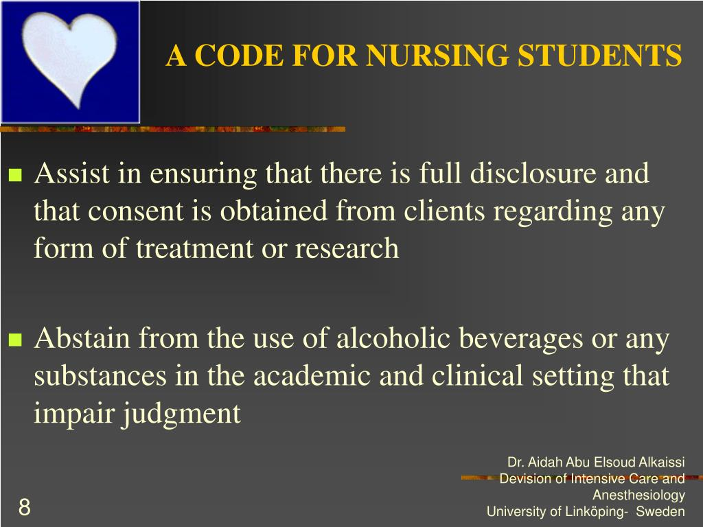 A CODE FOR NURSING STUDENTS